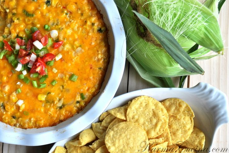 ... Corn Dip with Garlic, Cilantro, Tomato, Jalapeno, Onion and Red Bell
