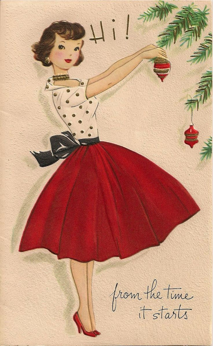 Vintage Christmas Card- I want her outfit!