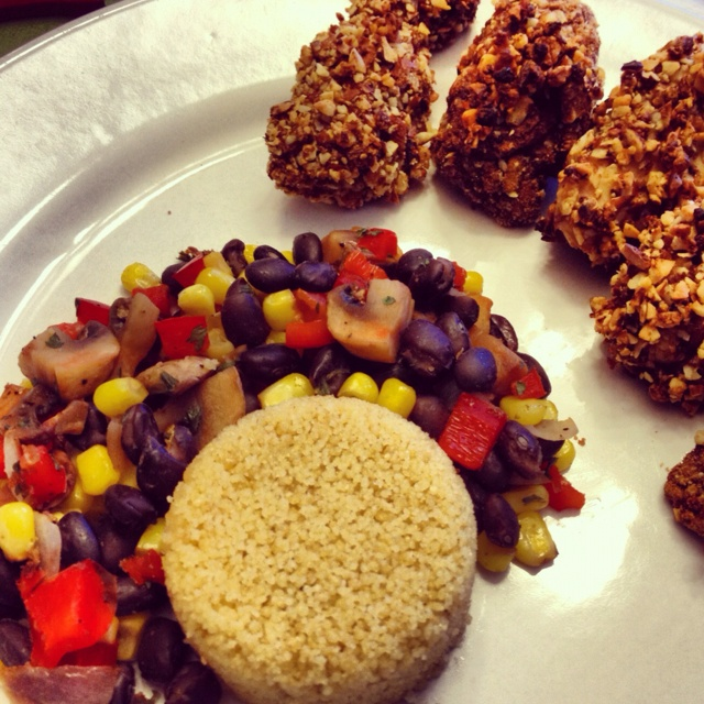 Almond Chili Crusted Baked Chicken Tenders, Whole Wheat Couscous ...