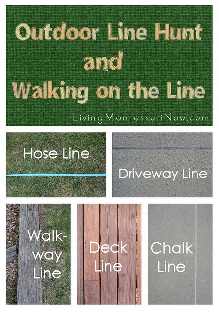 Ideas for an outdoor line hunt for preschoolers. Links to walking-on-the-line extensions for home or school.