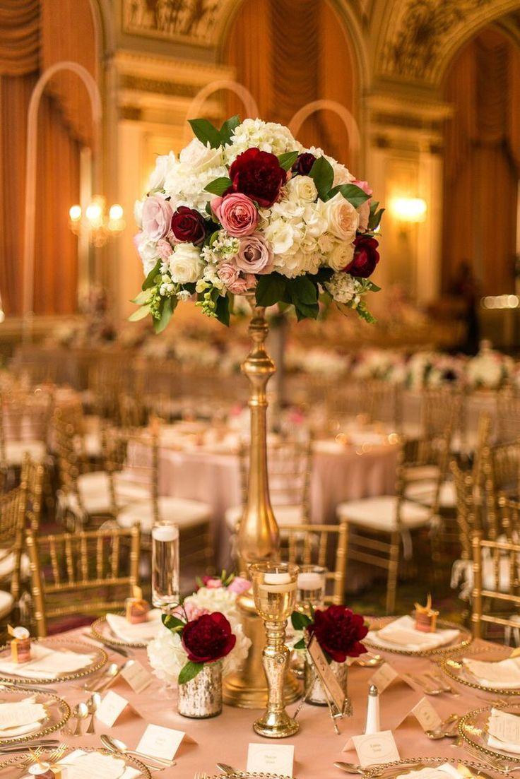 Burgundy coral wedding