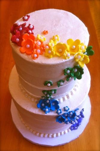 Pin by EnGAYged Weddings on Rainbow Weddings | Pinterest Elegant Rainbow Wedding Cake