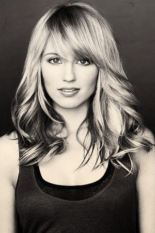 just got rid of my bangs...but I love this. Haircut Dianna Agron long layers side swept bangs easy shoulder cut
