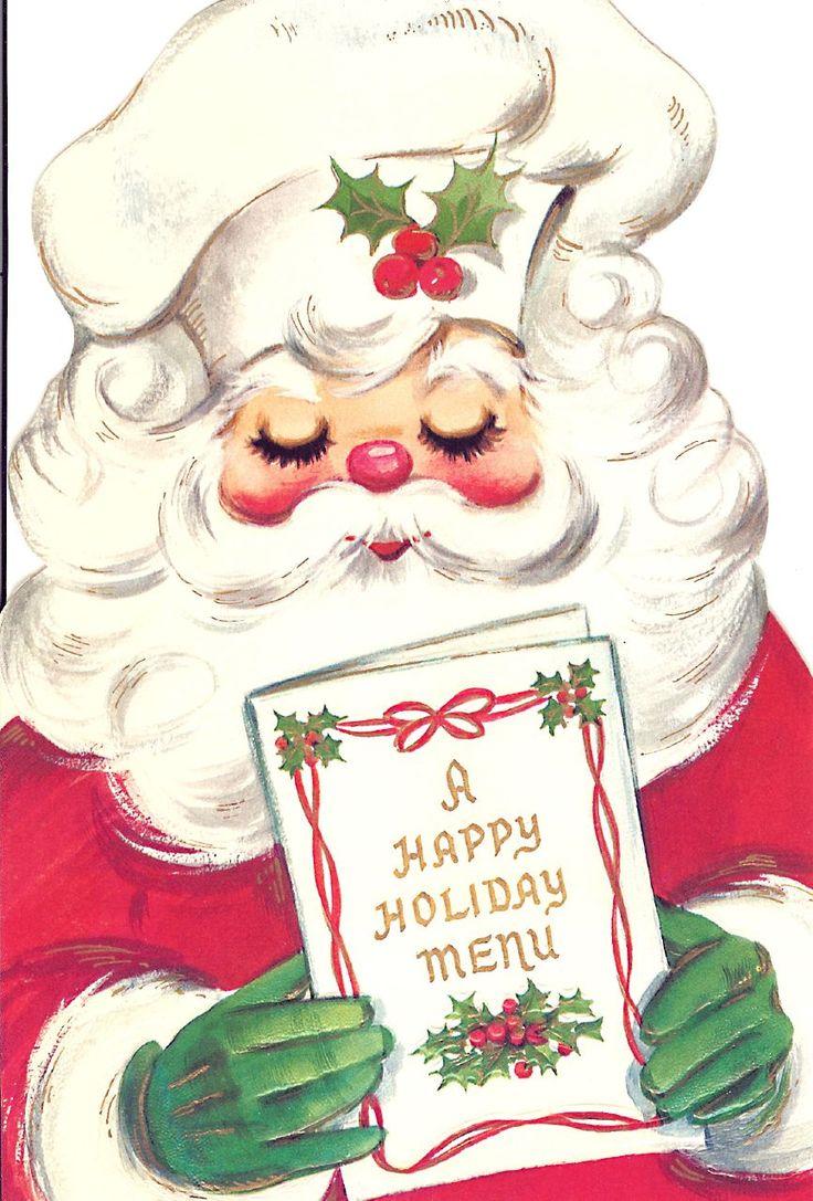 Vintage Santa holding Holiday Menu | ANTIQUE CHRISTMAS SANTAS | Pinte ...