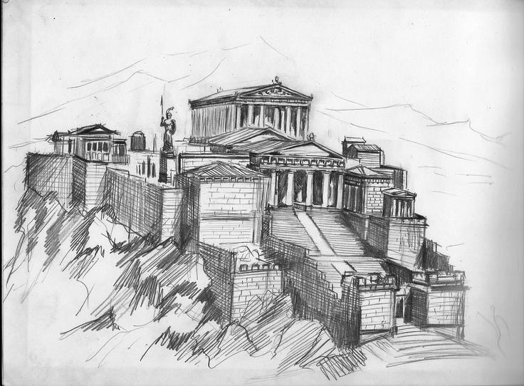 pencil drawing - Acropolis of Athens   Drawings Sketchbook 2006/2009 ...