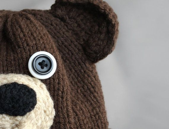 Knitting Pattern For Teddy Bear Hat : bear hat with button eyes Knitting ideas Pinterest