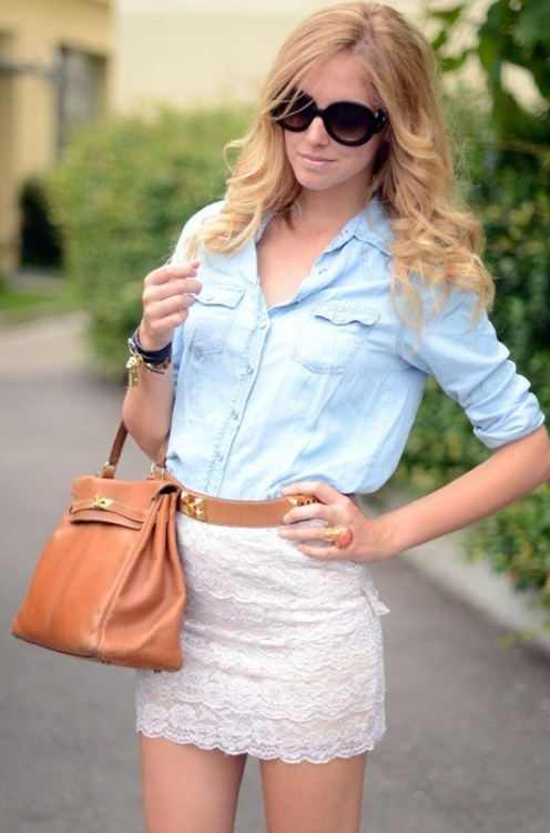 lace skirt light denim shirt style me pretty