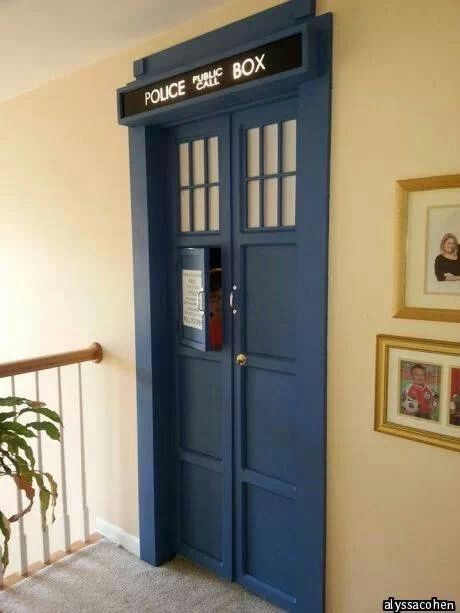 dr who bedroom door with sound fx wibbly wobbly timey wimey pin