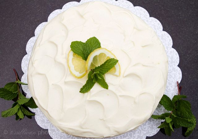 layers of white cake glued together with a thick layer of lemon curd ...