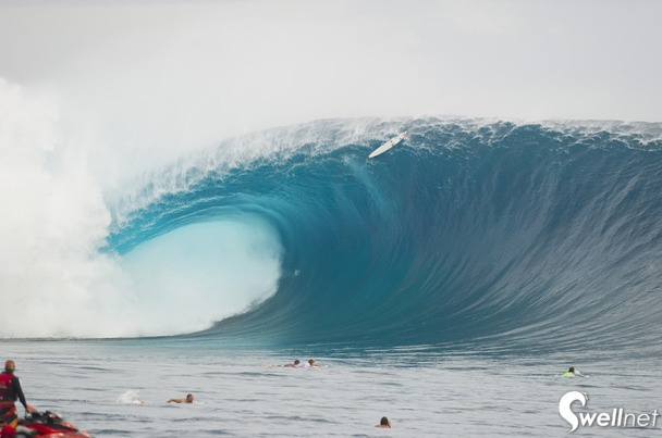 This wave redefines the word freight train. Fiji on fire from recent Volcom Pro at cloudbreak.