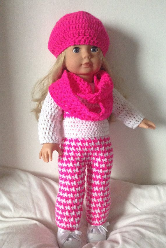 Crochet pattern pdf for 18 inch doll, American Girl doll, designer fr ...