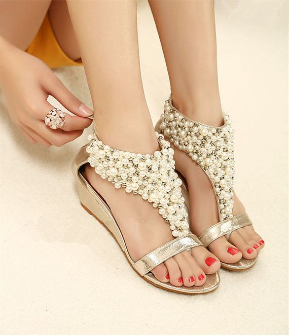 Pearl Bridal Shoes Lace Sandals Wedding Shoes Beaded Lace Shoes B