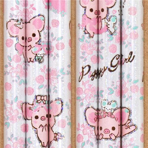 white silver Piggy Girl glitter pencil with flowers