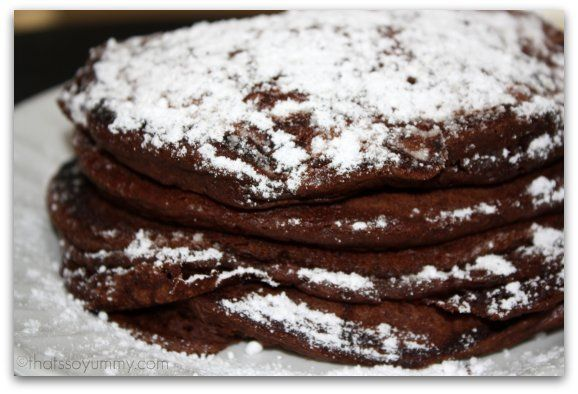 Chocolate Pancakes - I made these without the egg, using pure cocoa ...