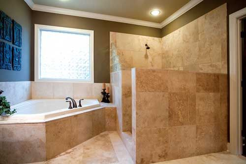 Walk in shower no glass dream home pinterest for Walk in shower no glass