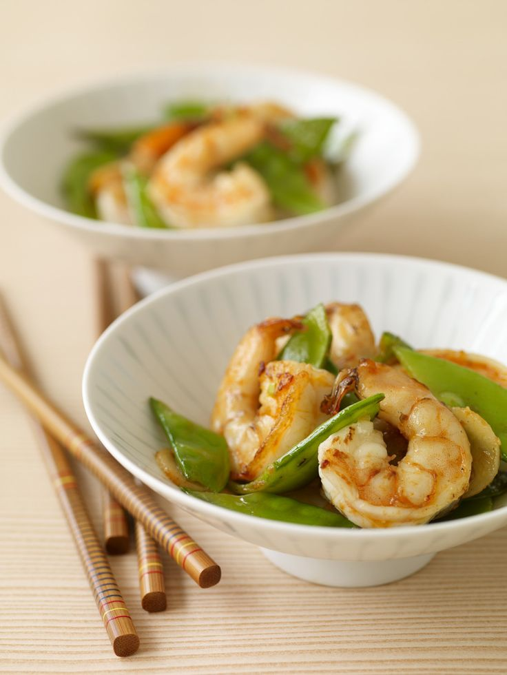 Coral and Jade' Stir Fry with Shrimp and Snow Peas