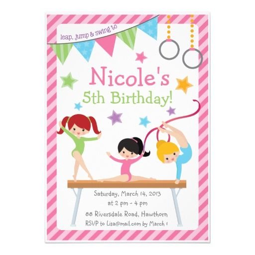 Gymnastics Birthday Party Invitations and get inspiration to create nice invitation ideas