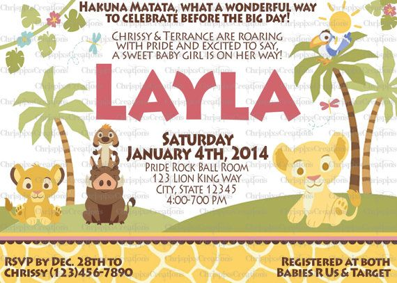 girl lion king baby shower invitation print at home