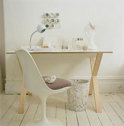 Simple Desk White Home Office Furniture Workspaces