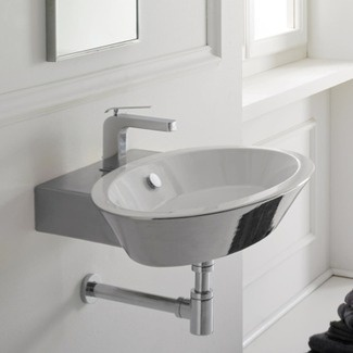Thin Sink : Scarabeo by Nameeks Wish Thin Edge Wall or Deck Mount Bathroom Sink ...