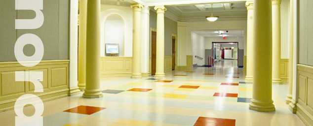 Rubber flooring helps make education more pleasant and productive.