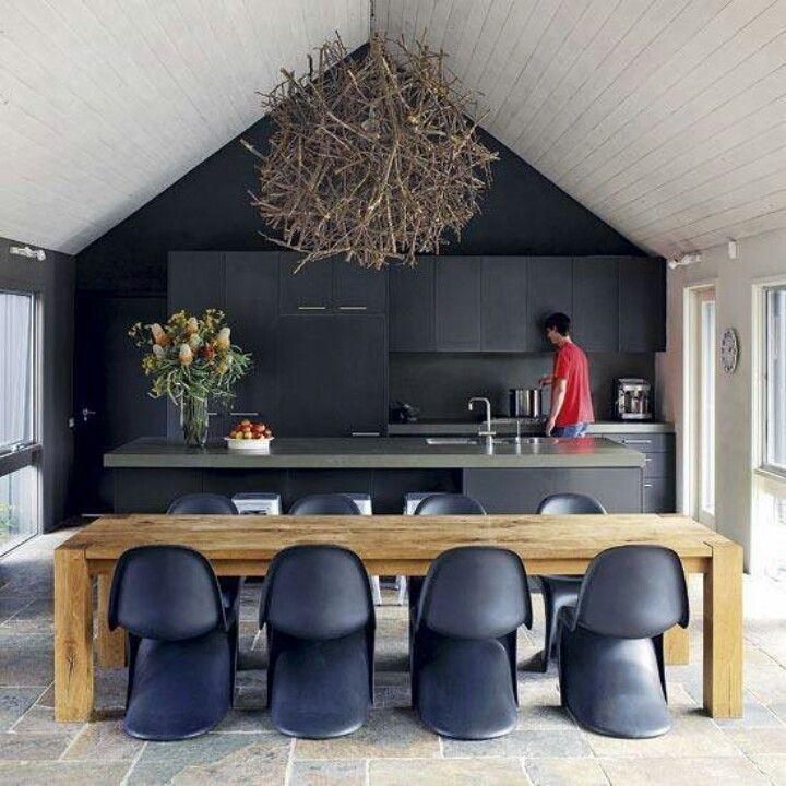 Love An All Black Kitchen Interior Spaces Pinterest