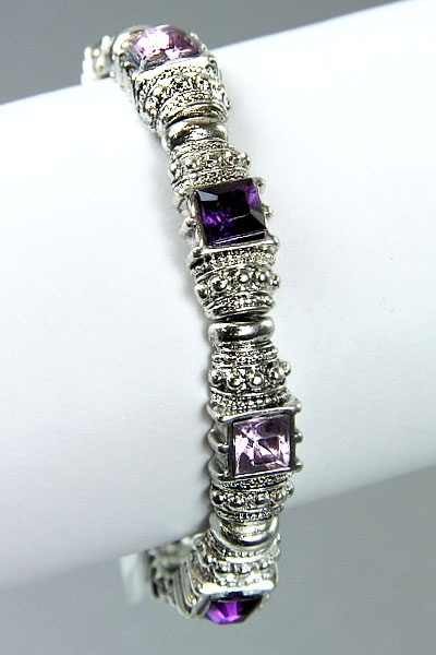 Antique silver bracelet with purple crystals $7.95
