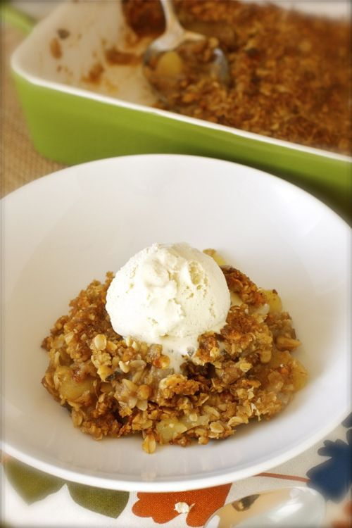 Apple Crisp with Oatmeal Walnut Streusel Topping.