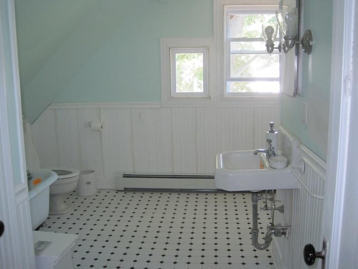 Wainscoting And Vintage Tile Bathroom House Ideas