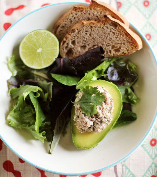 Cilantro-Lime Sardine Salad in Avocado Halves--sardines are supposed ...