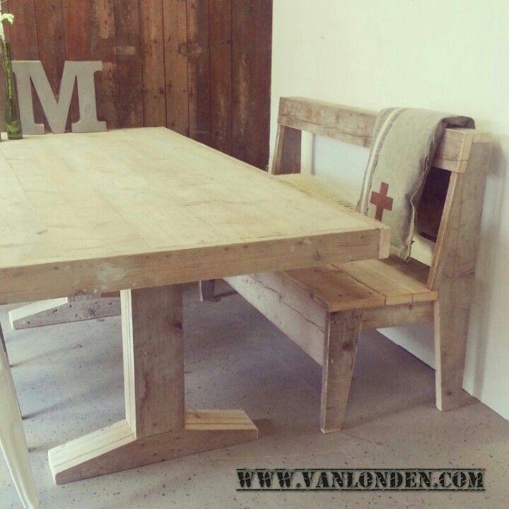 Tafel en bank van steigerhout  Steigerhouten meubelen  Pinterest
