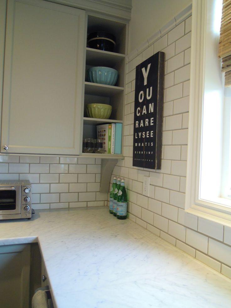 white subway tile dark grout backsplash pinterest