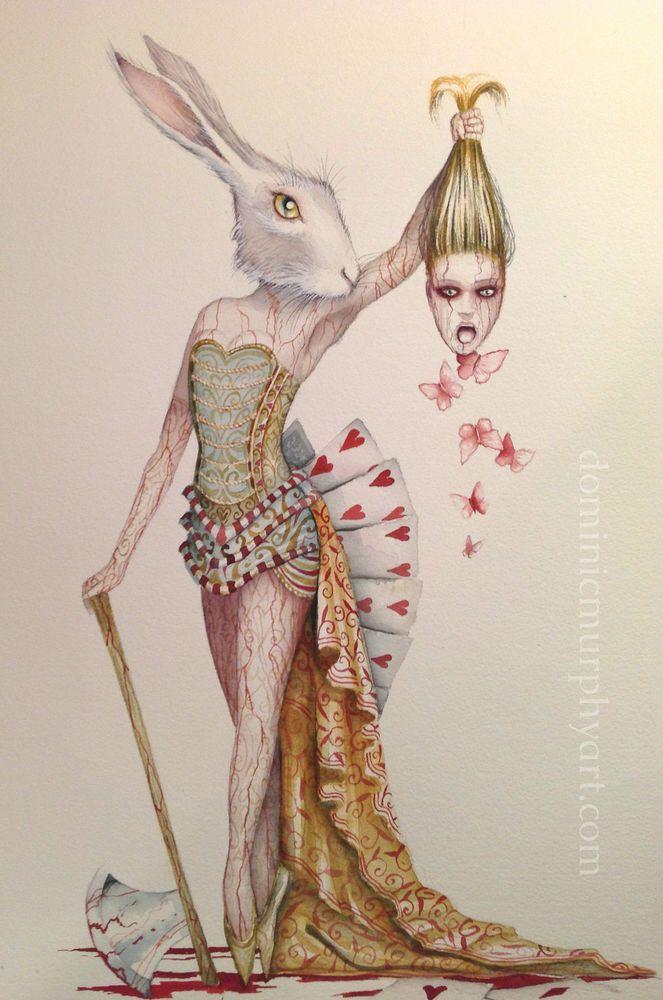 alice in wonderland art original painting queen rabbit. Black Bedroom Furniture Sets. Home Design Ideas