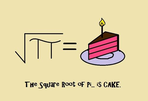 square root of pi ( let's sum up all inverse squares to get a pi square  )  however, in mathematics, the root of pi is undetermined, making pi nothing less than a miracle.