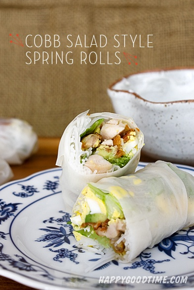 Cobb Salad Style Spring Rolls with Skinny Bleu Cheese Dip | Happy Good ...