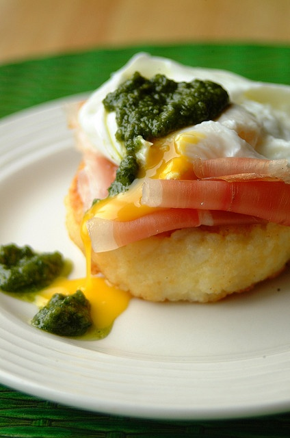 Risotto Cake with pesto poached egg | A Savory... | Pinterest
