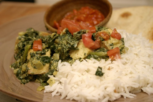 Saag Tofu: Indian Spiced Tofu in Spinach Sauce