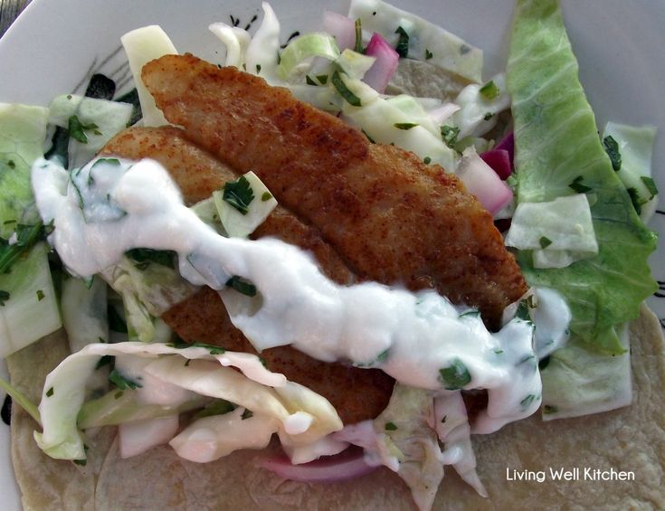 Fish Tacos - No vinegar for the slaw, no chile powder for the fish ...