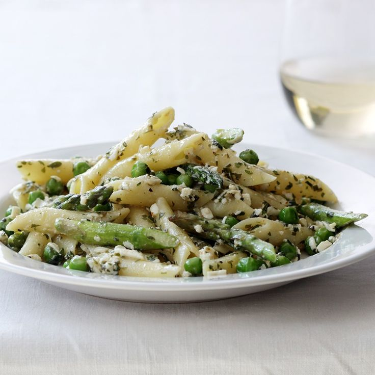 Penne Pasta with Asparagus, Peas, Ricotta Salata and Tarragon Butter ...