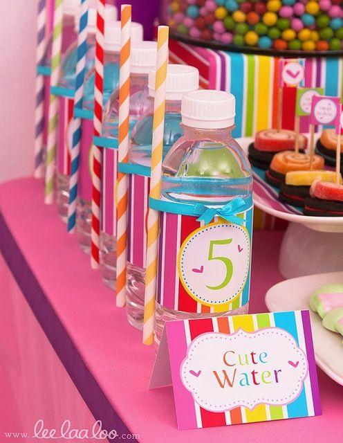 Lollipop Sweets Party Water Bottles #lollipop #waterbottles