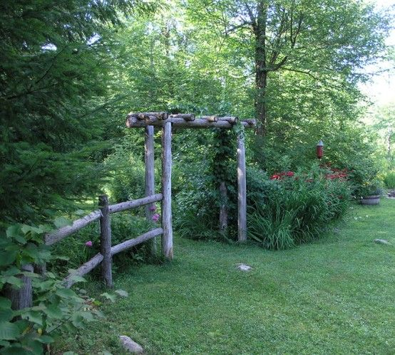 rustic garden fence and arbor Dont Fence Me In Pinterest