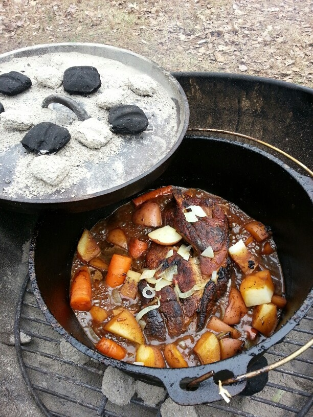 Dutch oven pork shoulder roast | camping and cooking over fire | Pint ...