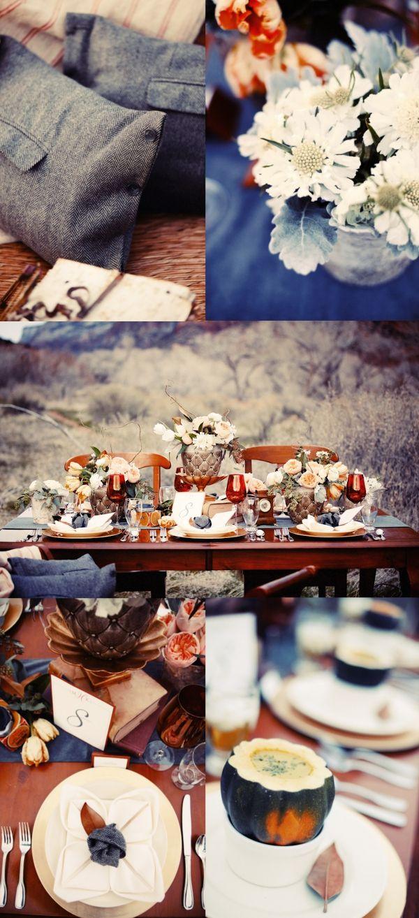 Hochzeit, Tischdekoration, Herbst, blau,  Hochzeitsideen  Pinterest