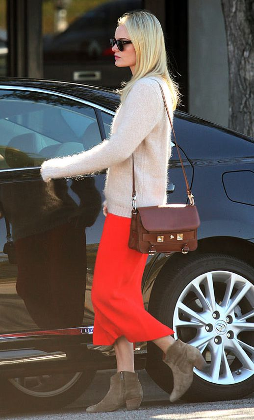 KATE BOSWORTH OUTFIT INSPIRATION TAN BROWN PROENZA SCHOULER CLASSIC PS11 PINK NUDE FUZZY ANGORA SWEATER RED ORANGE MIDI SKIRT TAN BROWN ISABEL MARANT WESTERN ANKLE BOOTS