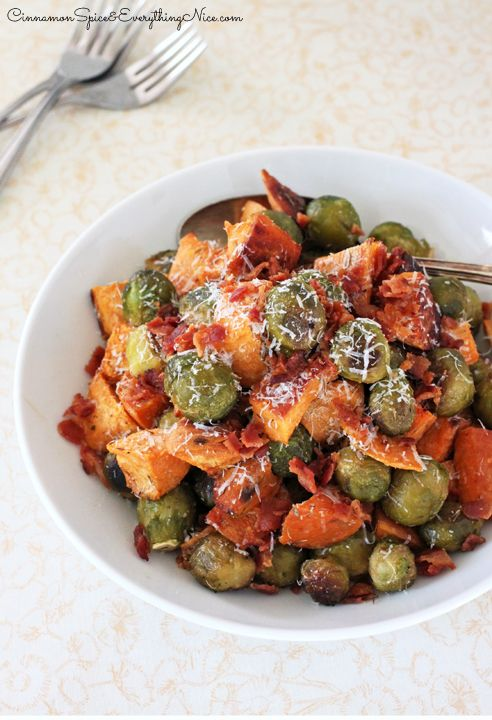 Roasted Brussels Sprouts, Sweet Potatoes and Bacon | Recipe