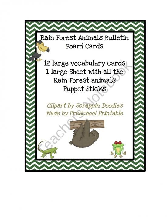Rain Forest Animals For Bulletin Board From Fun Printables