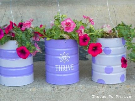 Recycled Cans: Hanging Planters