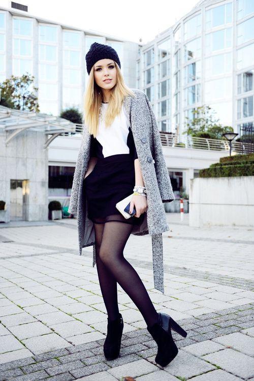Nice mini dress with black high heels