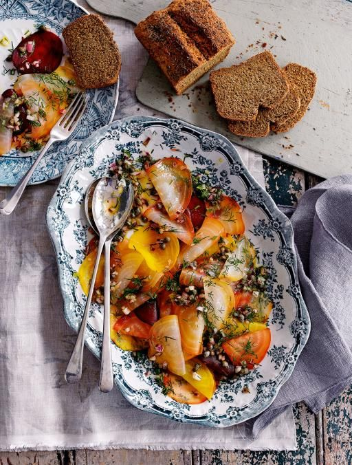 Vegan beetroot Carpaccio With a caper dressing This is an impressive ...