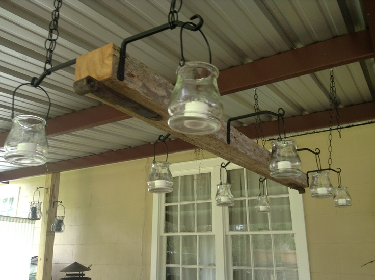 Outdoor Light Fixture We Made Using An Old Fence Post Plant Holders From Low